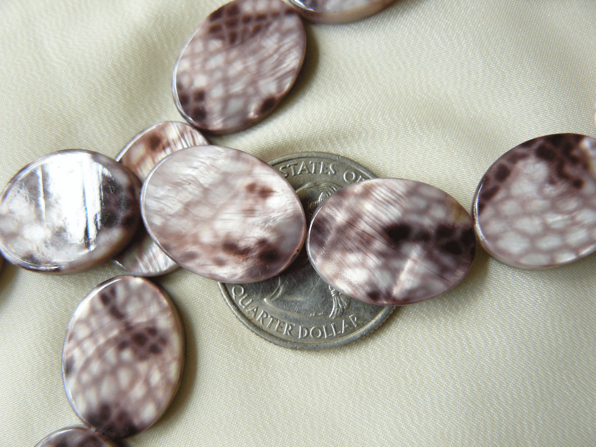 Snake skin shell oval beads with unique snake skin pattern