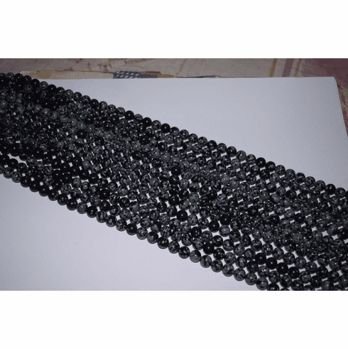 """Snow Flake Obsidian Mala Beads 14"""" strands 8.5-9mm Rounds"""