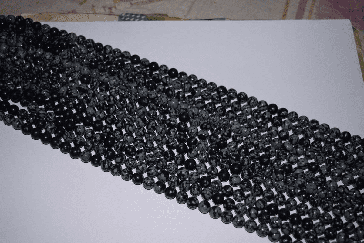 "Snow Flake Obsidian Mala Beads 14"" strands 8.5-9mm Rounds"