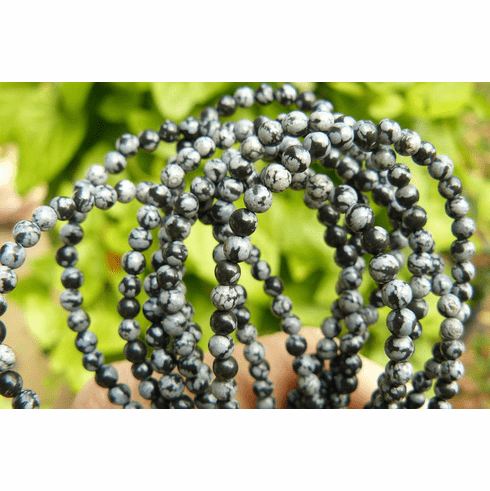 "Snowflake Obsidian beads 4mm round 16"" strand"