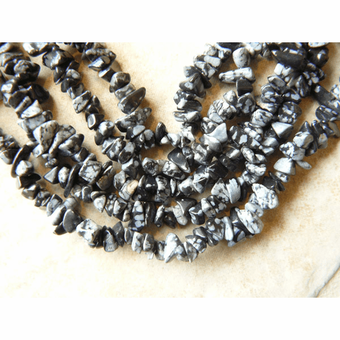 """Snowflake Obsidian Beads Chips wearable 36"""" Strand"""