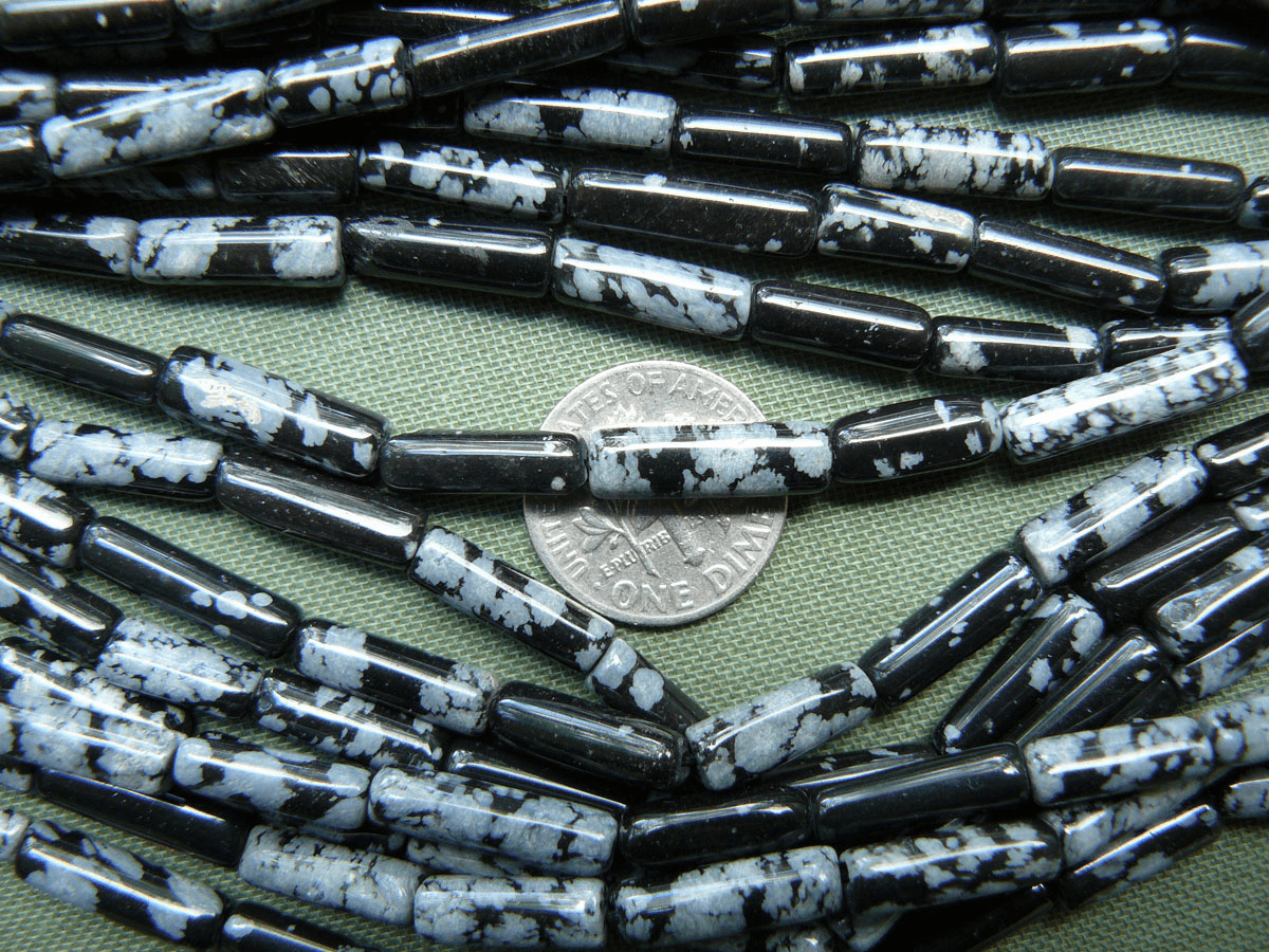 "Snowflake Obsidian Beads cylinder tubes 5x12mm 15""strands"