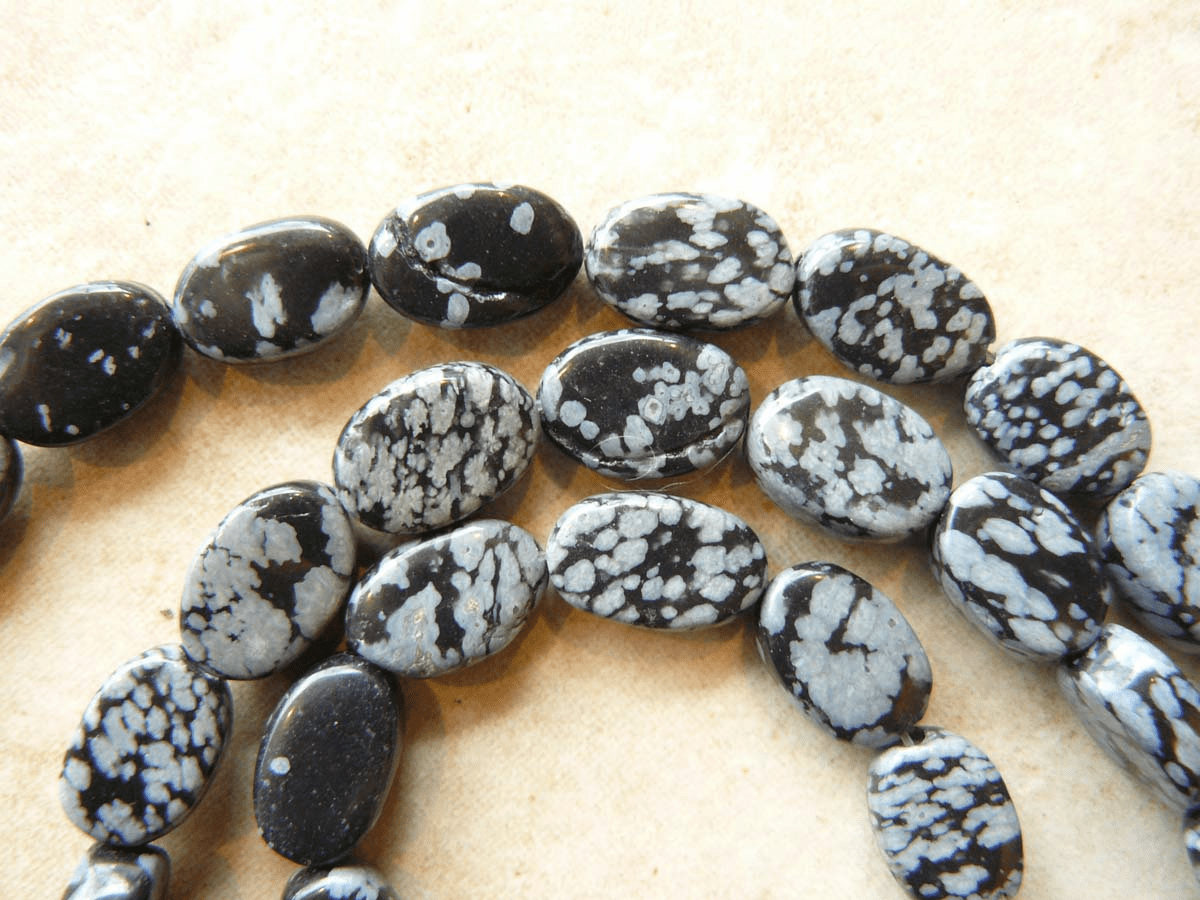 Snowflake Obsidian Beads Flat Oval cut natural Lava flow beads