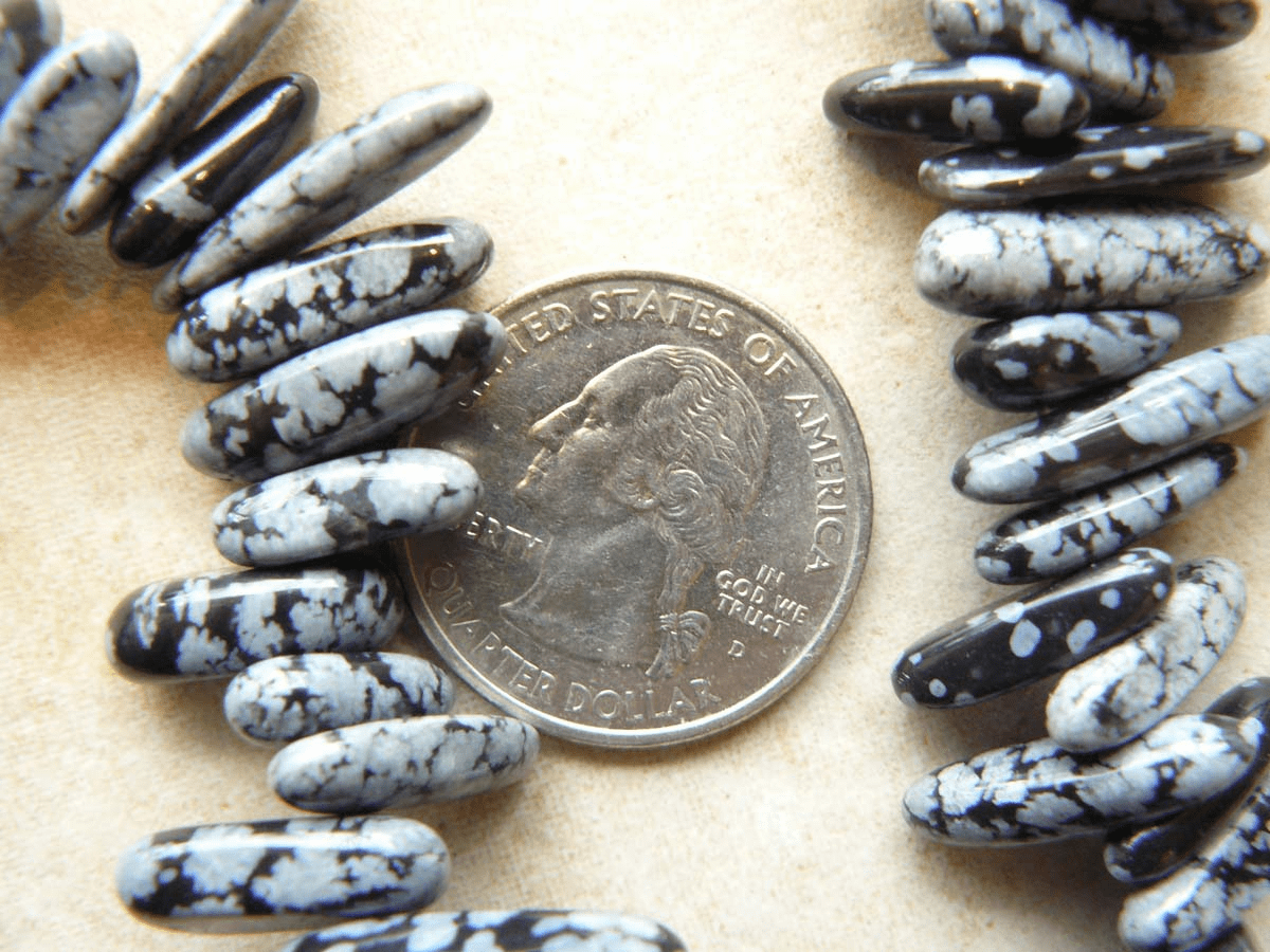 Snowflake Obsidian Beads Top Drilled Chards