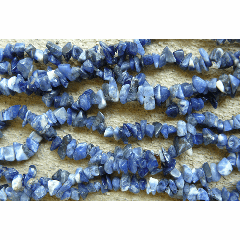 """Sodalite Bead polished Chips 32"""" """"double"""" strand"""