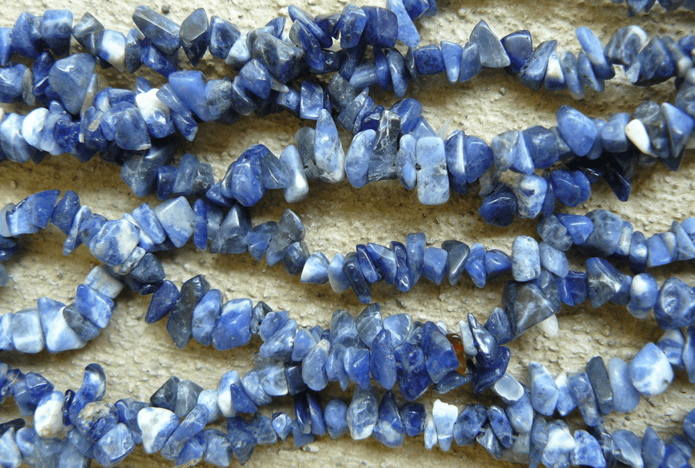 "Sodalite Bead polished Chips 32"" ""double"" strand"