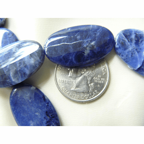 "Sodalite Flat Ovals Beads 18x30MM 14 beads 16"" strands"