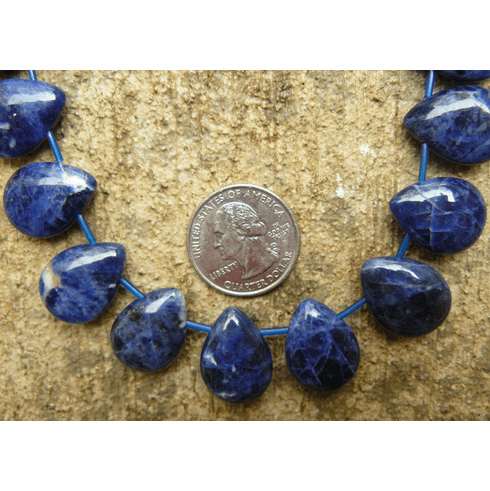 "Sodalite Uniform Drops 25 beads 16x22mm 16"" strands"