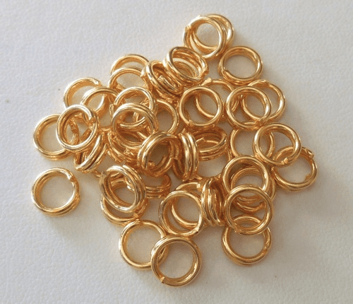 Split Ring - 8mm - 45 pcs. - 24kt Gold Over Copper<br>GCBK104-8