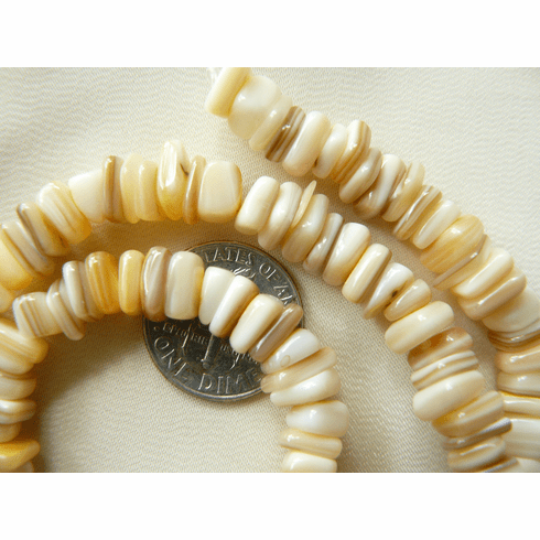 """Square Heishi style shell chip beads 6.5mm 16"""" strands"""
