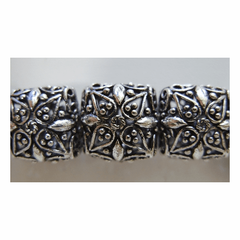 Square Hollow Bead 14mm 5 Beads .999 Silver Over Copper SCBK4-9