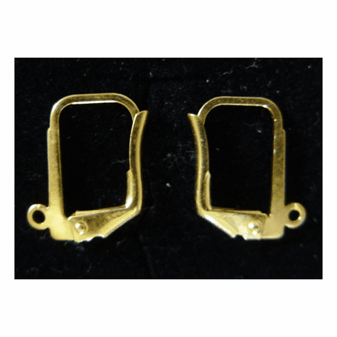 Square Lever Back Ear Wire - 10x12mm - 10 Pairs - 24KT Gold Over Copper