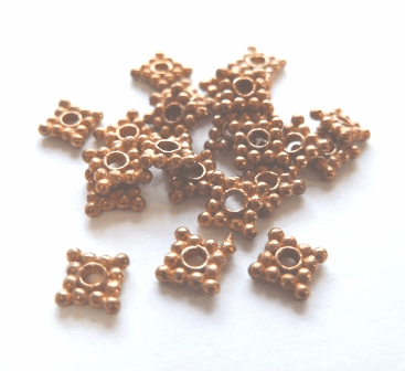 Square Spacer - 6x6mm - 25 Beads - Copper<br>CB104