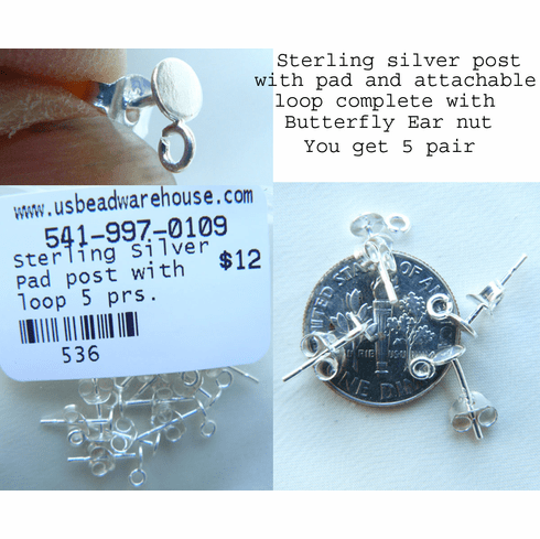 Sterling pad with post and Clasp ear findings for glue on stone 5 pair