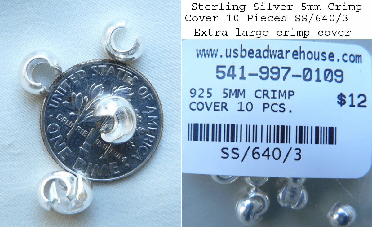 Sterling Silver crimp covers 5mm 10 pieces SS-640-3