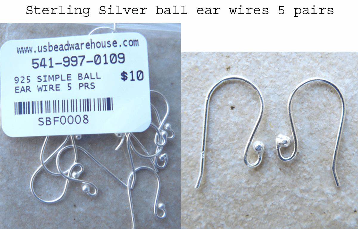 Sterling Silver Ear Wire with Ball 10 piece 5 pair 11.5x20.0mm