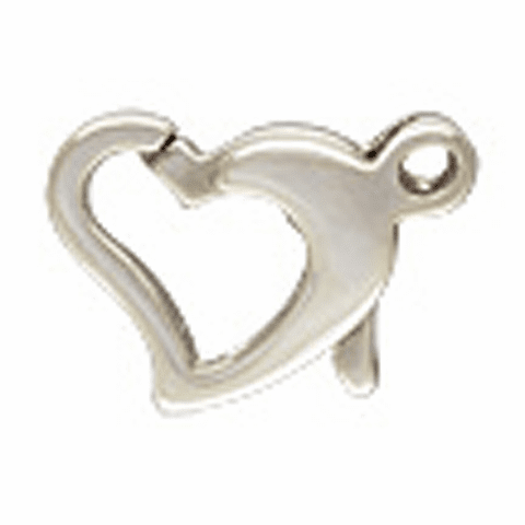 Sterling Silver Floating Heart Clasp 8x10mm 5 Clasps 5002070-966