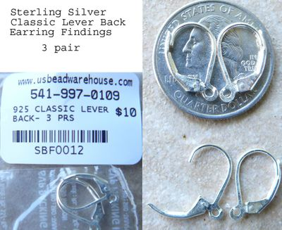 Lever Back with Open Ring - 3 pair Sterling Silver 10x16mm