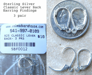 Leverback Ear Findings - Sterling Silver -with open ring 3 pair