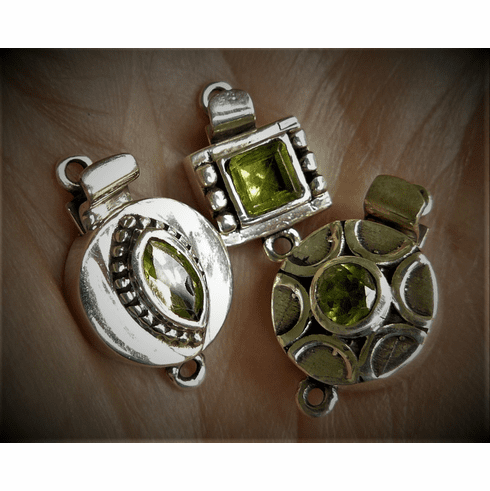 Sterling Silver Peridot Gem Clasp 3 styles to choose