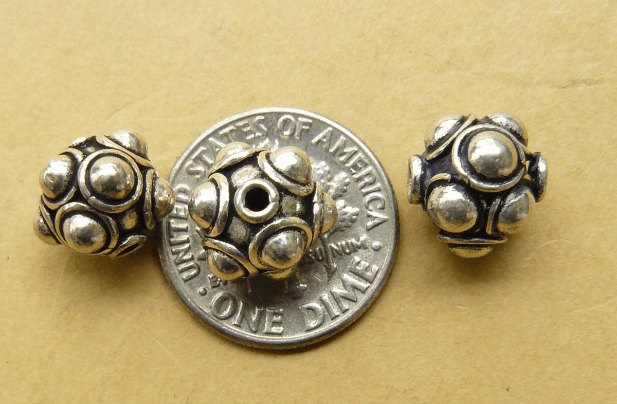 Sterling Silver rounded bead with Balls 10mm 3 beads