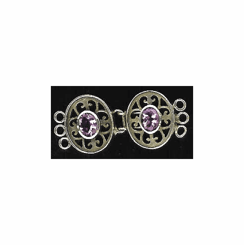 Sterling Triple Clasp with 2-6X8 Faceted Amethyst Gems