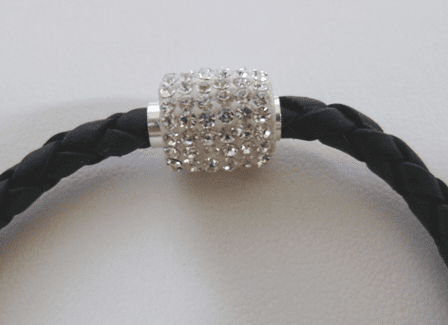 Swarovski crystals in Sterling Studded Braided Leather Bracelet for Large-Holed Beads