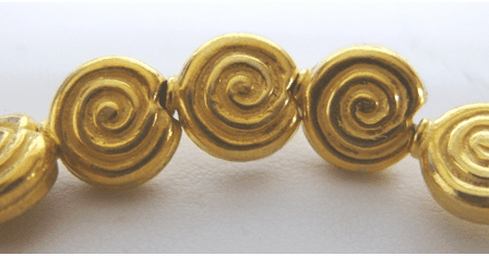 Swirl Bead - 10x10mm - 20 Beads - 24Kt Gold Over Copper<br>GCBK02