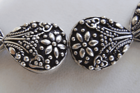 Teardrop Bead 17mm .999 Silver Over Copper SCBK4-15 4 beads