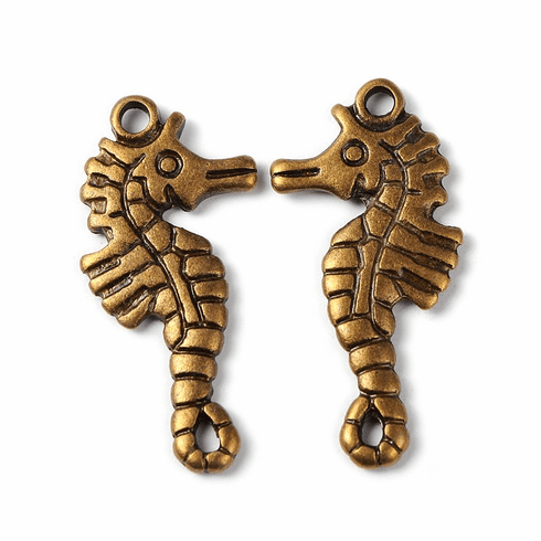 Tibetan Silver Antique Bronze Tone Especial Sea Hourse Charms Pendants, Lead Free, Cadmium Free and Nickel Free, 33.5mm long, 17.5mm wide...