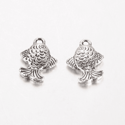 Tibetan Style Alloy Fish Charms, Antique Silver, 16x12x3mm, Hole: 1.5mm