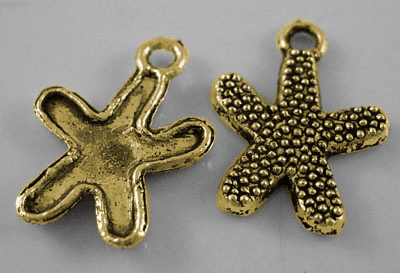 Tibetan Style Charms, Lead Free and Cadmium Free, Antique Golden, Starfish, 13mm wide, 17mm long, hole: 2mm