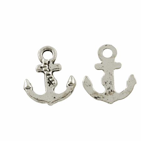 Tibetan Style Pendants, Lead Free & Cadmium Free, Anchor & Helm, Antique Silver, 17x14x2mm, Hole: 3mm