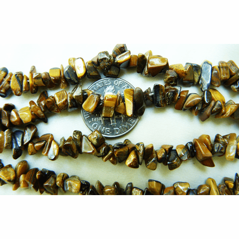 """Tiger Eye polished Chip beads extra long wearable strand 32"""""""