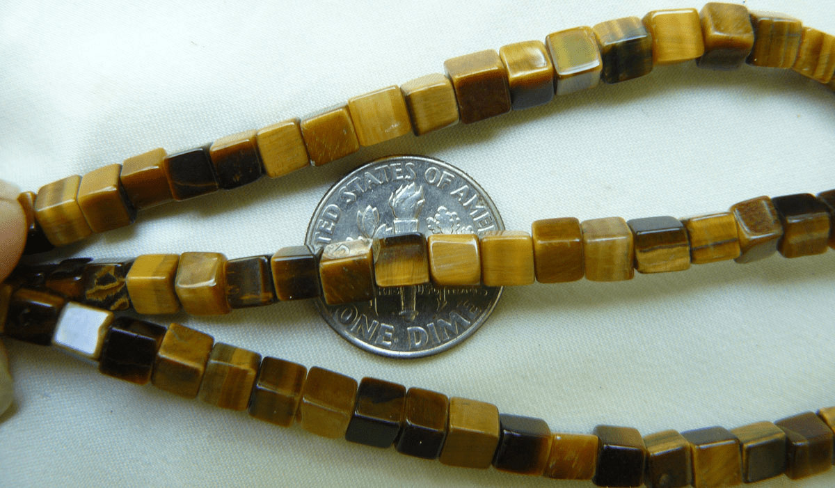 "Tiger Eye Square beads 4mm 16"" strands"