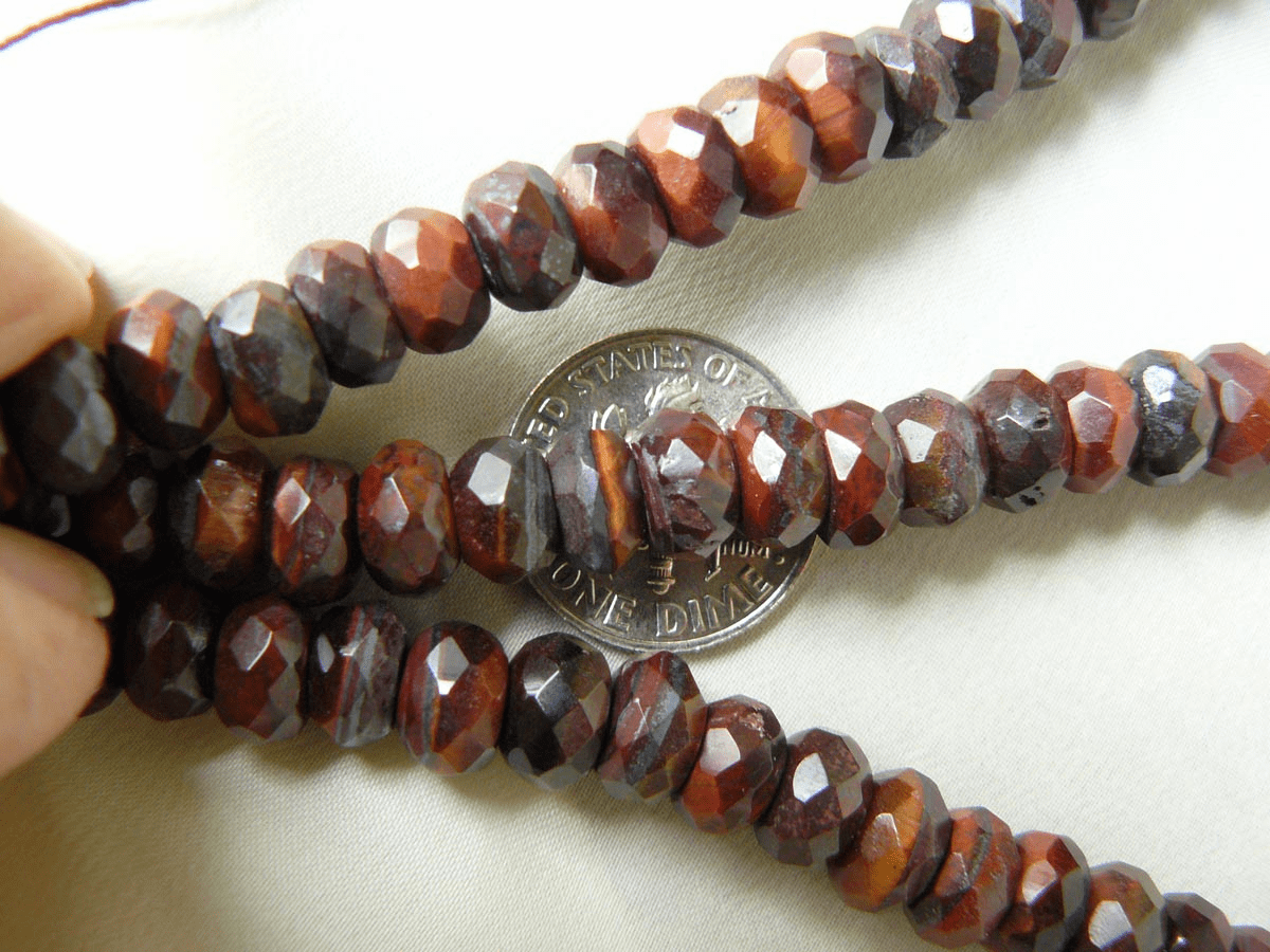 "Tiger Iron Faceted Rondelle Beads 4x6mm 16"" Strands"