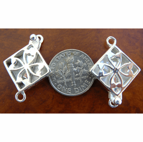 Tilted Square Fancy Box Clasp - 14x14mm - 1 Set - Sterling Silver<br>CL4