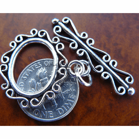 Toggle Clasp - 18x22mm Ring w/ 32mm Bar - 1 Clasp - Sterling Silver<br>EI1701