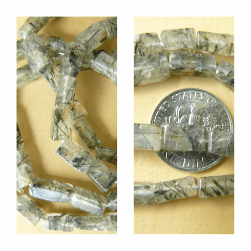 "Tourmalated Quartz Brick Beads 4x9mm 15"" Strands"