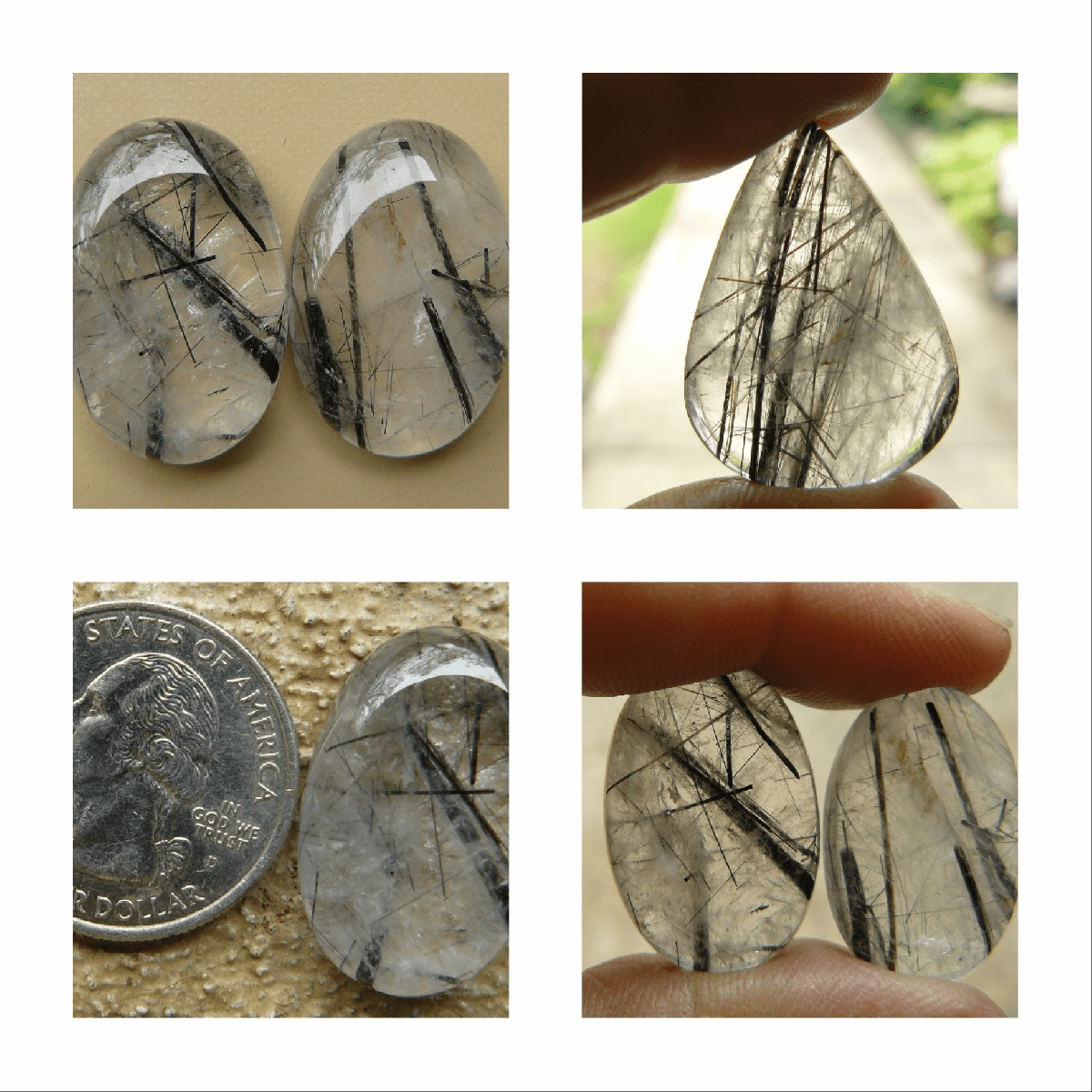 Tourmalated Quartz cabochons Many Shapes and sizes