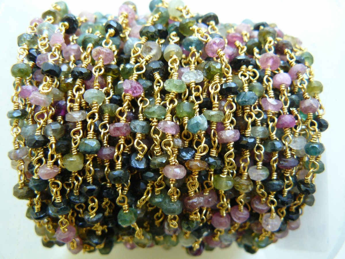 Tourmaline Gems Multi colored on A 24kt. Chain over Copper core