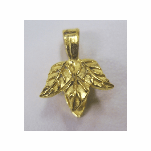 Tri-Leaf Pinch Bail - 10mm - 9 Pieces - 24KT Gold Over Copper