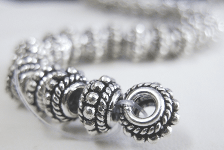 Triple Layer Daisy/Rope Spacer - 10mm - 34 Spacers - .999 Silver Over Copper<br>SCBK95