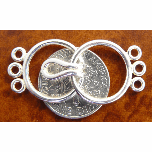 Triple Strand Three Ring Clasp - 13mm - 5 Clasps - Sterling Silver<br>SS/6021/3-10