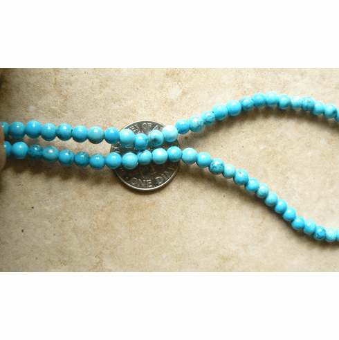 """Turquoise 4mm round beads 16"""" strands Good color Stabelized"""