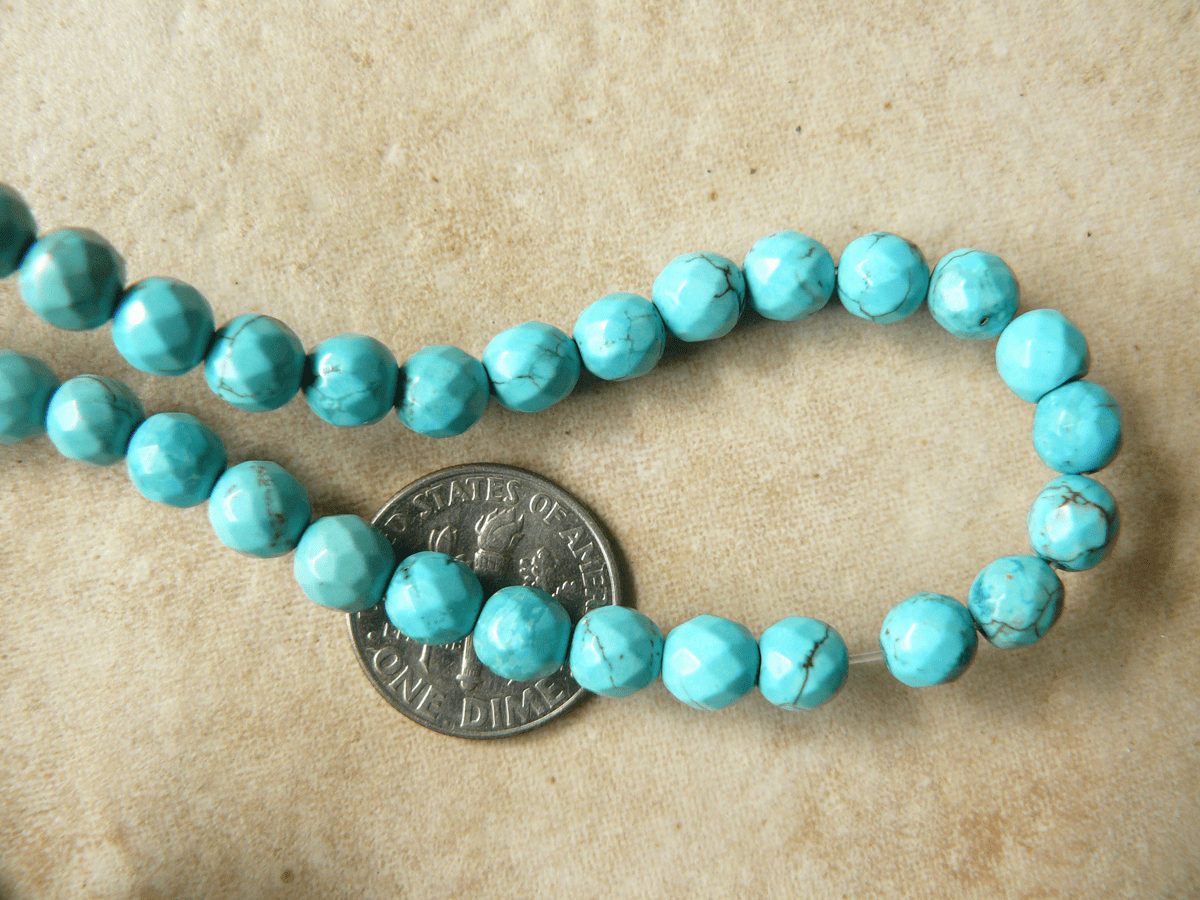 Turquoise 6mm Round Faceted beads 16 Inch Strands