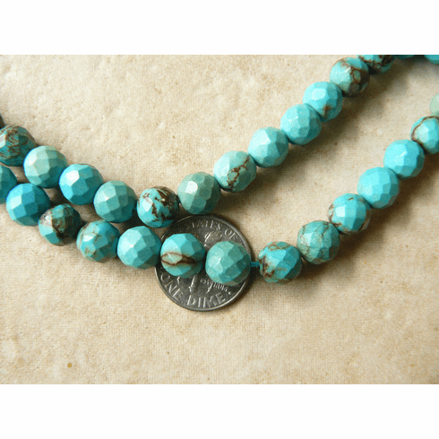 """Turquoise 8mm Faceted Beads in a 16"""" strand"""