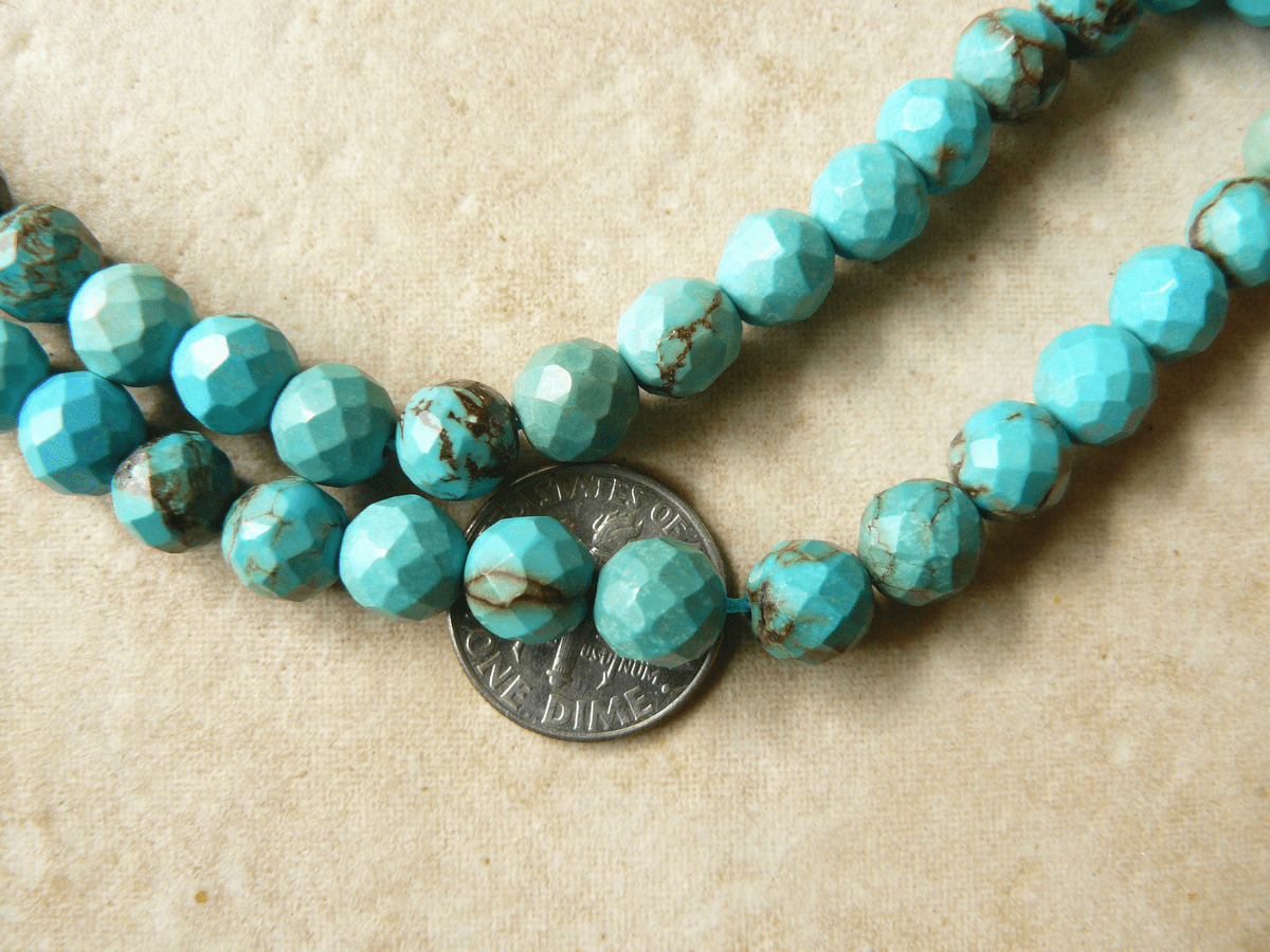"Turquoise 8mm Faceted Beads in a 16"" strand"