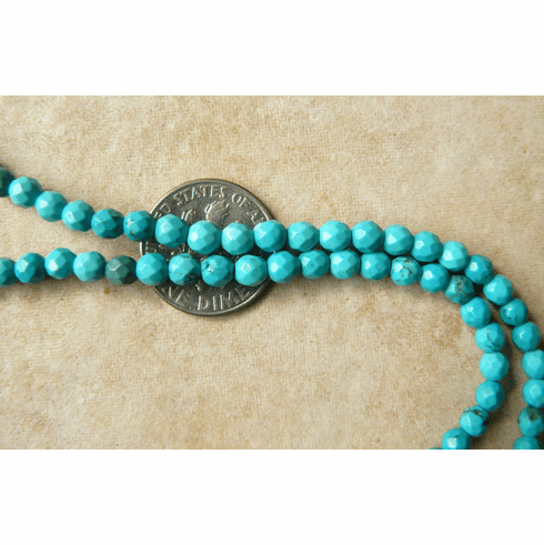 """Turquoise Faceted Beads 4mm Round 16"""" Strands"""
