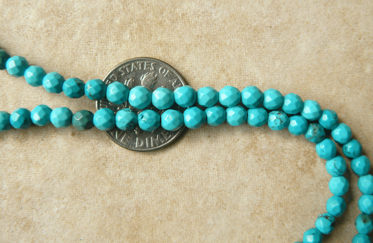 "Turquoise Faceted Beads 4mm Round 16"" Strands"